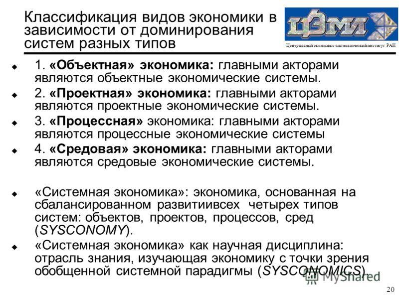 Центральный экономико-математический институт РАН 20 Классификация видов экономики в зависимости от доминирования систем разных типов u 1. «Объектная» экономика: главными акторами являются объектные экономические системы. u 2. «Проектная» экономика: