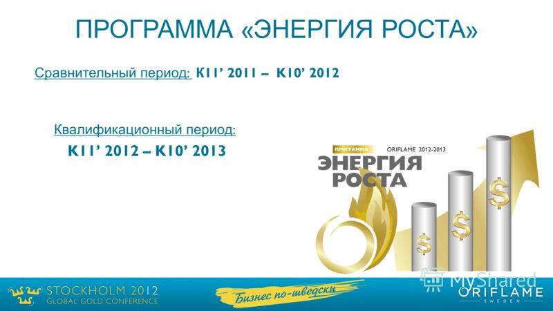 ПРОГРАММА « ЭНЕРГИЯ РОСТА » Сравнительный период : К 11 2011 – K10 2012 Квалификационный период : K11 2012 – K10 2013