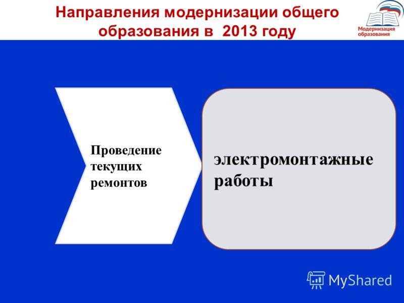 Проведение текущих ремонтов электромонтажные работы Направления модернизации общего образования в 2013 году