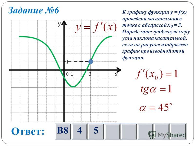 Задание 6 х у 0 1 13 К графику функции y = f(x) проведена касательная в точке с абсциссой х = 3. Определите градусную меру угла наклона касательной, если на рисунке изображён график производной этой функции. Ответ: В845