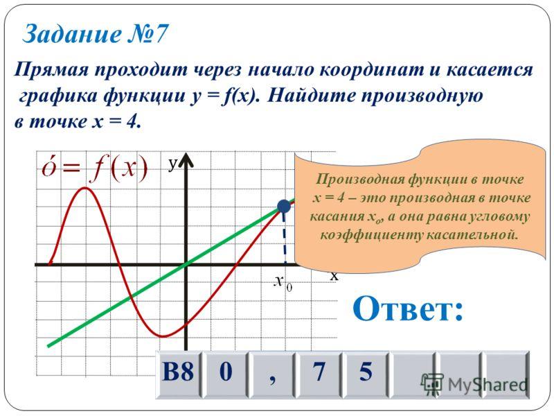 Задание 7 Прямая проходит через начало координат и касается графика функции y = f(x). Найдите производную в точке х = 4. х у Ответ: В80,75 Производная функции в точке х = 4 – это производная в точке касания х о, а она равна угловому коэффициенту каса