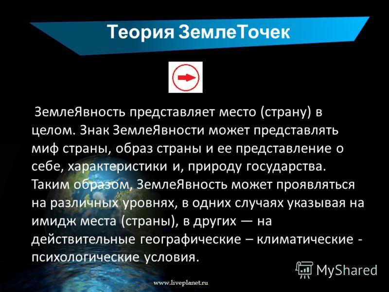 Теория ЗемлеТочек www.liveplanet.ru ЗемлеЯвность представляет место (страну) в целом. Знак ЗемлеЯвности может представлять миф страны, образ страны и ее представление о себе, характеристики и, природу государства. Таким образом, ЗемлеЯвность может пр