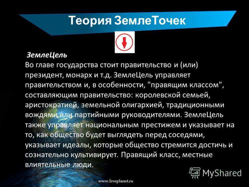 Теория ЗемлеТочек www.liveplanet.ru ЗемлеЦель Во главе государства стоит правительство и (или) президент, монарх и т.д. ЗемлеЦель управляет правительством и, в особенности,