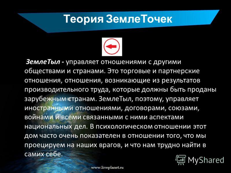 Теория ЗемлеТочек www.liveplanet.ru ЗемлеТыл - управляет отношениями с другими обществами и странами. Это торговые и партнерские отношения, отношения, возникающие из результатов производительного труда, которые должны быть проданы зарубежным странам.