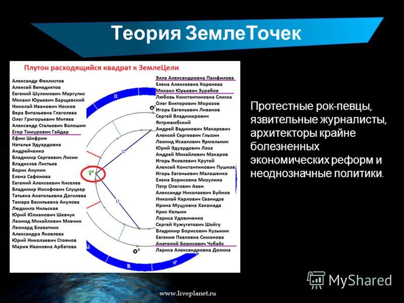 Теория ЗемлеТочек Протестные рок - певцы, язвительные журналисты, архитекторы крайне болезненных экономических реформ и неоднозначные политики. www.liveplanet.ru