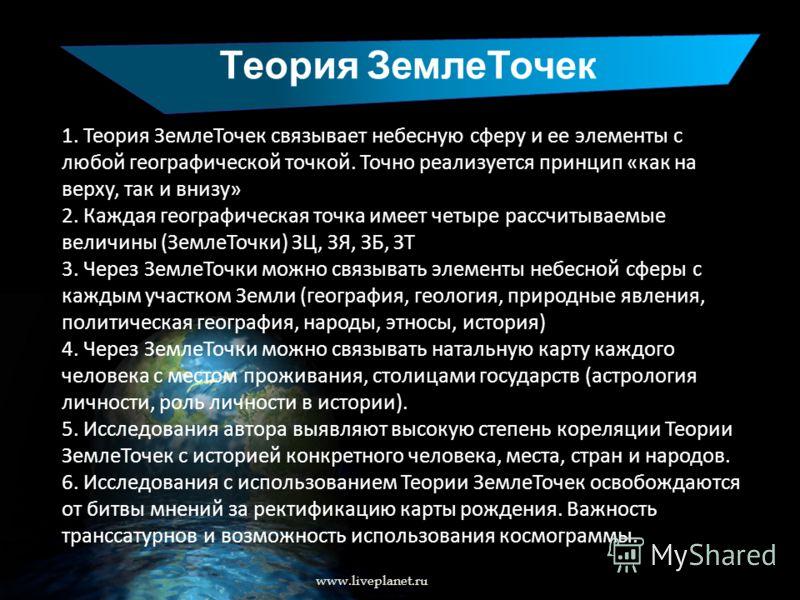 Теория ЗемлеТочек www.liveplanet.ru 1. Теория ЗемлеТочек связывает небесную сферу и ее элементы с любой географической точкой. Точно реализуется принцип «как на верху, так и внизу» 2. Каждая географическая точка имеет четыре рассчитываемые величины (