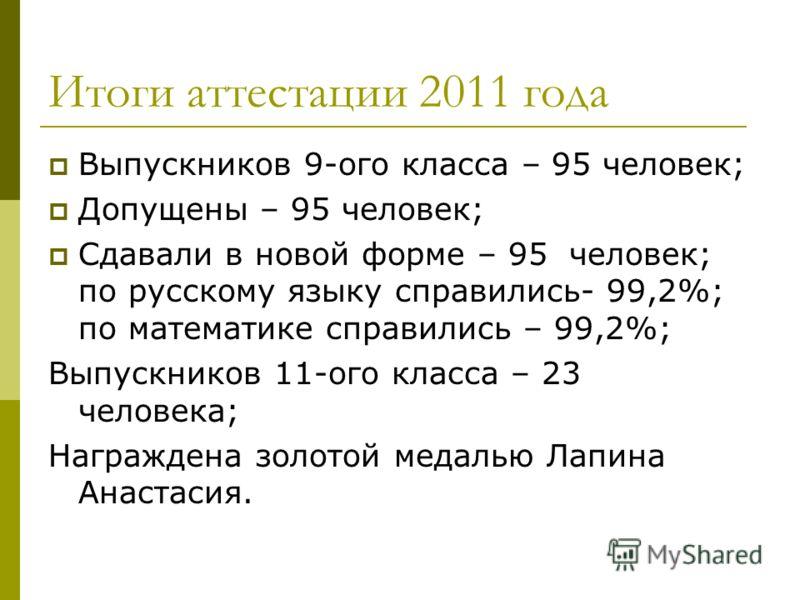 Итоги аттестации 2011 года Выпускников 9-ого класса – 95 человек; Допущены – 95 человек; Сдавали в новой форме – 95 человек; по русскому языку справились- 99,2%; по математике справились – 99,2%; Выпускников 11-ого класса – 23 человека; Награждена зо