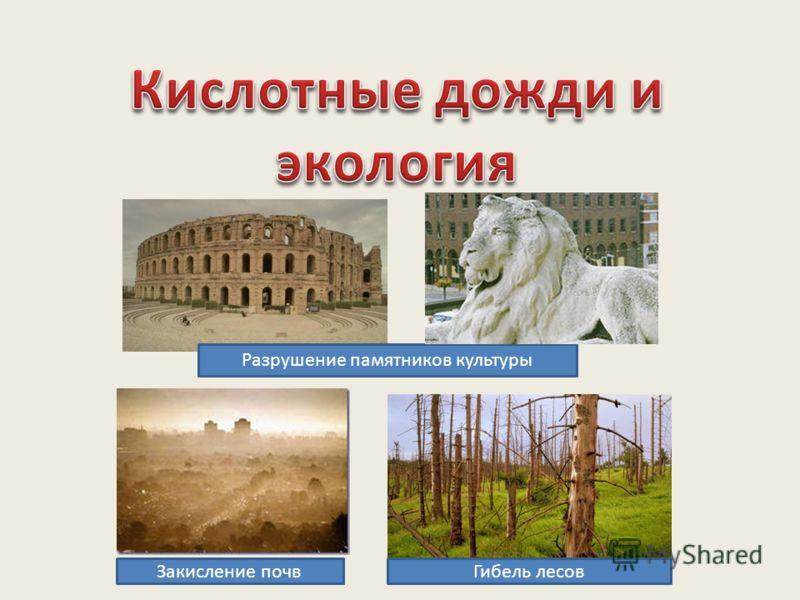 Разрушение памятников культуры Гибель лесовЗакисление почв