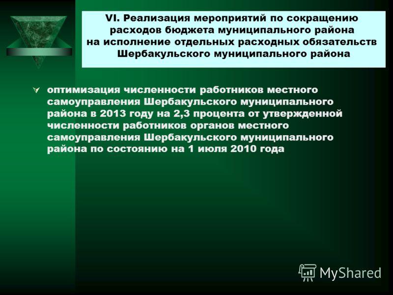 оптимизация численности работников местного самоуправления Шербакульского муниципального района в 2013 году на 2,3 процента от утвержденной численности работников органов местного самоуправления Шербакульского муниципального района по состоянию на 1
