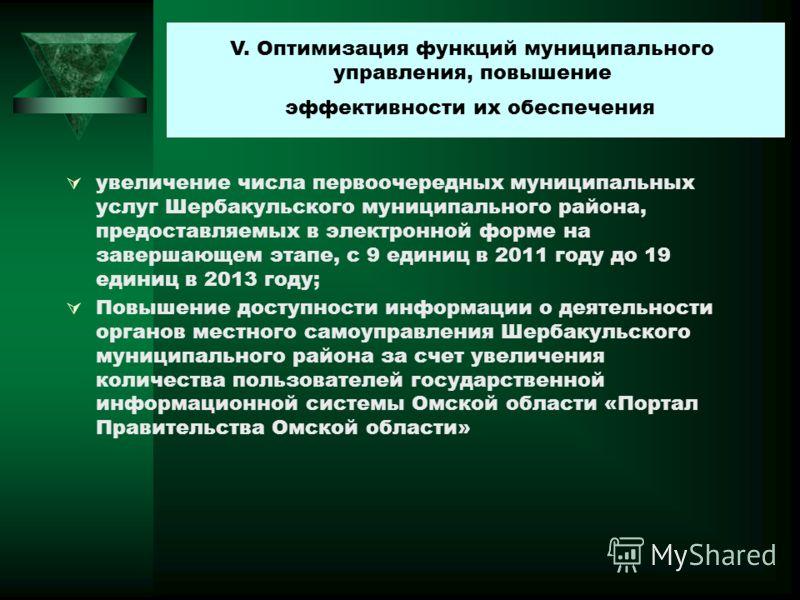 увеличение числа первоочередных муниципальных услуг Шербакульского муниципального района, предоставляемых в электронной форме на завершающем этапе, с 9 единиц в 2011 году до 19 единиц в 2013 году; Повышение доступности информации о деятельности орган