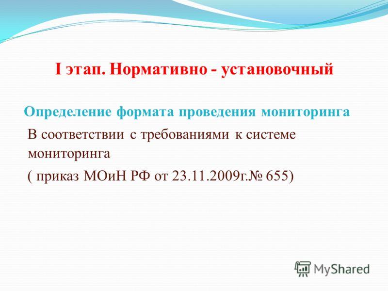 I этап. Нормативно - установочный Определение формата проведения мониторинга В соответствии с требованиями к системе мониторинга ( приказ МОиН РФ от 23.11.2009г. 655)