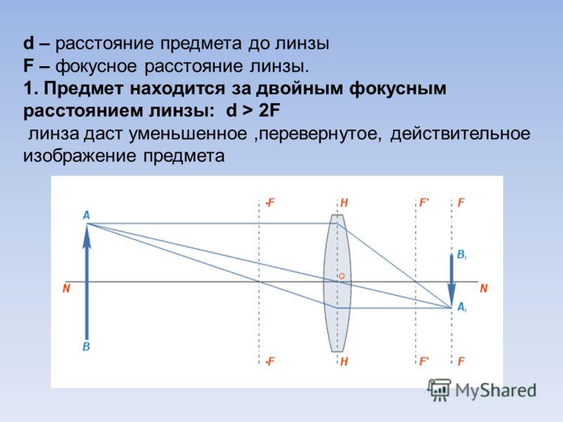 d – расстояние предмета до линзы F – фокусное расстояние линзы. 1. Предмет находится за двойным фокусным расстоянием линзы: d > 2F линза даст уменьшенное,перевернутое, действительное изображение предмета