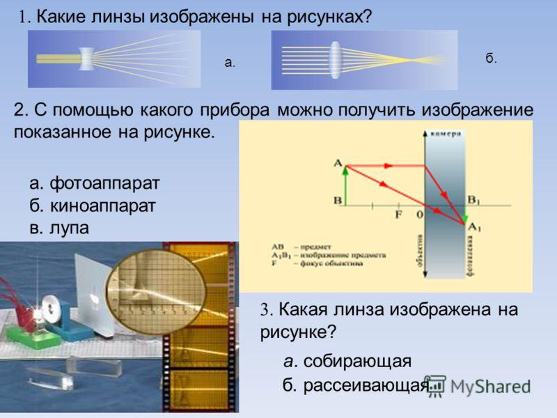 1. Какие линзы изображены на рисунках? а. б. 2. С помощью какого прибора можно получить изображение показанное на рисунке. а. фотоаппарат б. киноаппарат в. лупа 3. Какая линза изображена на рисунке? а. собирающая б. рассеивающая
