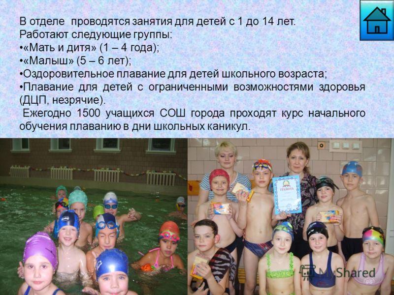 В отделе проводятся занятия для детей с 1 до 14 лет. Работают следующие группы: «Мать и дитя» (1 – 4 года); «Малыш» (5 – 6 лет); Оздоровительное плавание для детей школьного возраста; Плавание для детей с ограниченными возможностями здоровья (ДЦП, не