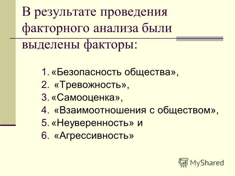 В результате проведения факторного анализа были выделены факторы: 1.«Безопасность общества», 2. «Тревожность», 3.«Самооценка», 4. «Взаимоотношения с обществом», 5.«Неуверенность» и 6. «Агрессивность»