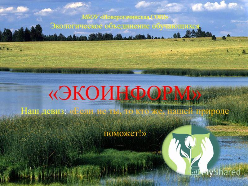 МБОУ «Новорогачинская СОШ» Экологическое объединение обучающихся «ЭКОИНФОРМ» Наш девиз: «Если не ты, то кто же, нашей природе поможет!»