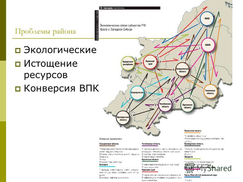 Проблемы района Экологические Истощение ресурсов Конверсия ВПК