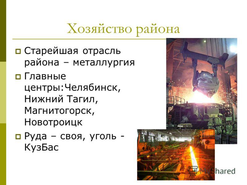 Хозяйство района Старейшая отрасль района – металлургия Главные центры:Челябинск, Нижний Тагил, Магнитогорск, Новотроицк Руда – своя, уголь - КузБас