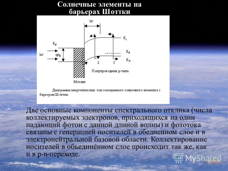 Две основные компоненты спектрального отклика (числа коллектируемых электронов, приходящихся на один падающий фотон с данной длиной волны) и фототока связаны с генерацией носителей в обедненном слое и в электронейтральной базовой области. Коллектиров