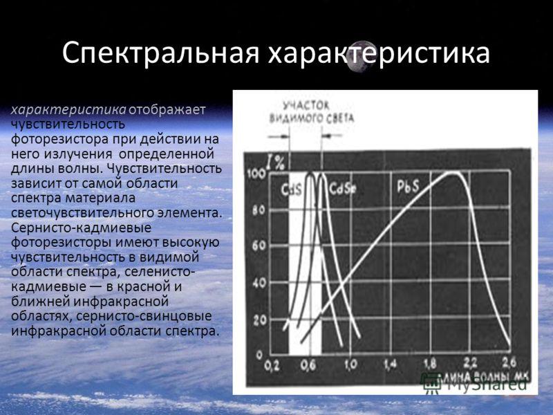 Спектральная характеристика Спектральная характеристика отображает чувствительность фоторезистора при действии на него излучения определенной длины волны. Чувствительность зависит от самой области спектра материала светочувствительного элемента. Серн