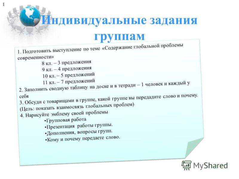 Индивидуальные задания группам 1