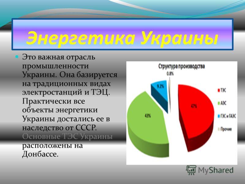 Энергетика Украины Это важная отрасль промышленности Украины. Она базируется на традиционных видах электростанций и ТЭЦ. Практически все объекты энергетики Украины достались ее в наследство от СССР. Основные ТЭС Украины расположены на Донбассе.