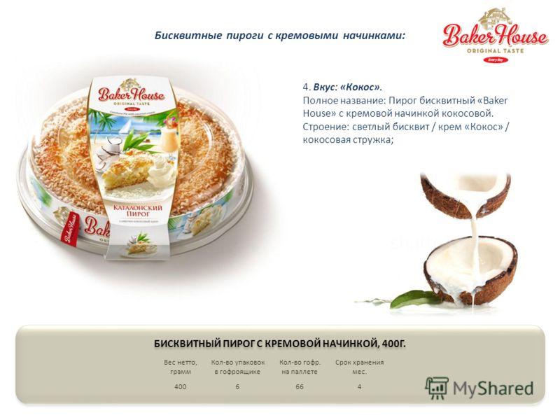 4. Вкус: «Кокос». Полное название: Пирог бисквитный «Baker House» с кремовой начинкой кокосовой. Строение: светлый бисквит / крем «Кокос» / кокосовая стружка; Вес нетто, грамм Кол-во упаковок в гофроящике Кол-во гофр. на паллете Срок хранения мес. 40