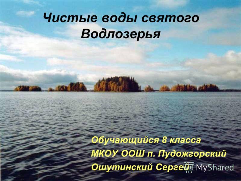 Чистые воды святого Водлозерья Обучающийся 8 класса МКОУ ООШ п. Пудожгорский Ошутинский Сергей