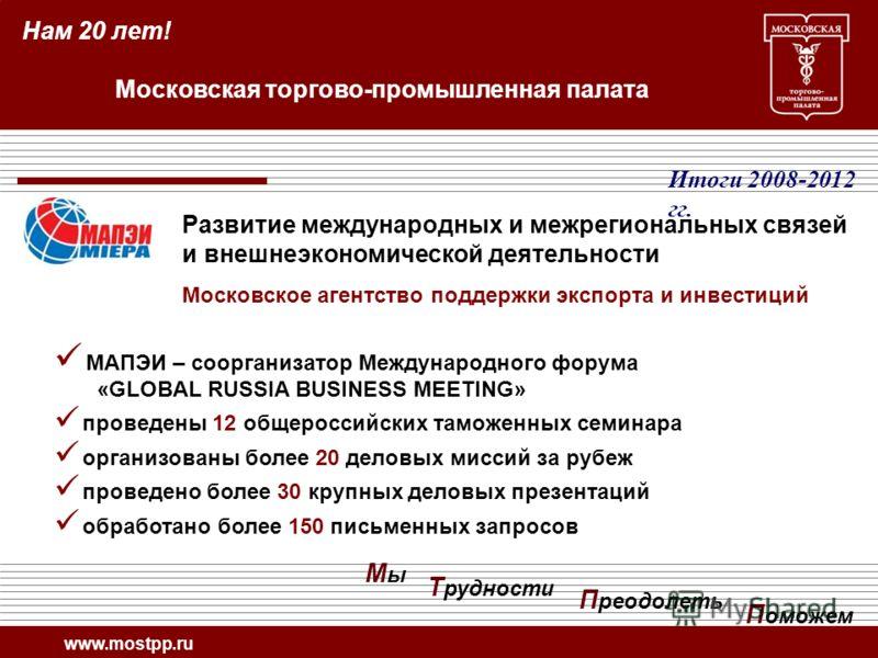 МАПЭИ – соорганизатор Международного форума «GLOBAL RUSSIA BUSINESS MEETING» проведены 12 общероссийских таможенных семинара организованы более 20 деловых миссий за рубеж проведено более 30 крупных деловых презентаций обработано более 150 письменных