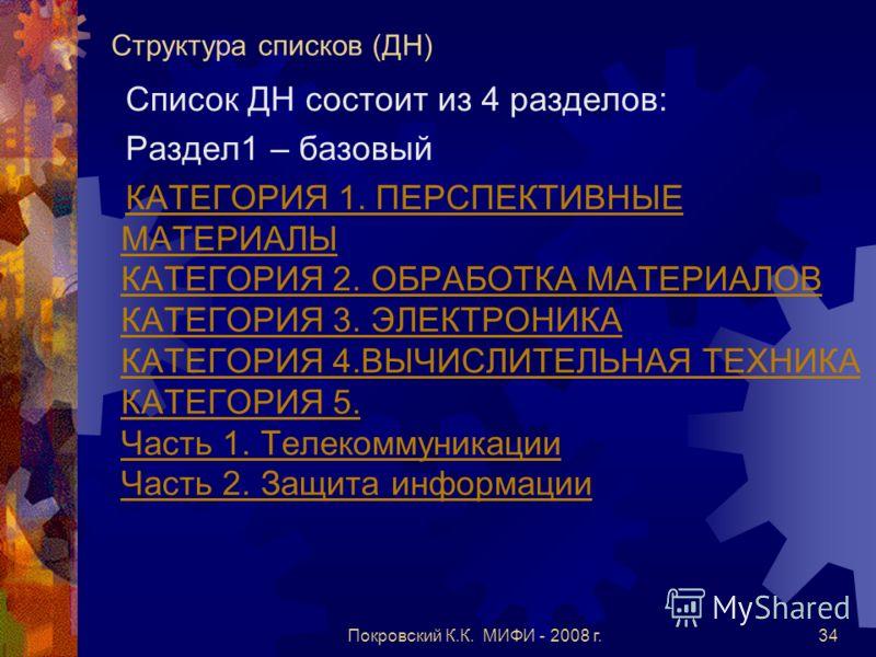 Покровский К.К. МИФИ - 2008 г.34 Структура списков (ДН) Список ДН состоит из 4 разделов: Раздел1 – базовый КАТЕГОРИЯ 1. ПЕРСПЕКТИВНЫЕ МАТЕРИАЛЫ КАТЕГОРИЯ 2. ОБРАБОТКА МАТЕРИАЛОВ КАТЕГОРИЯ 3. ЭЛЕКТРОНИКА КАТЕГОРИЯ 4.ВЫЧИСЛИТЕЛЬНАЯ ТЕХНИКА КАТЕГОРИЯ 5.