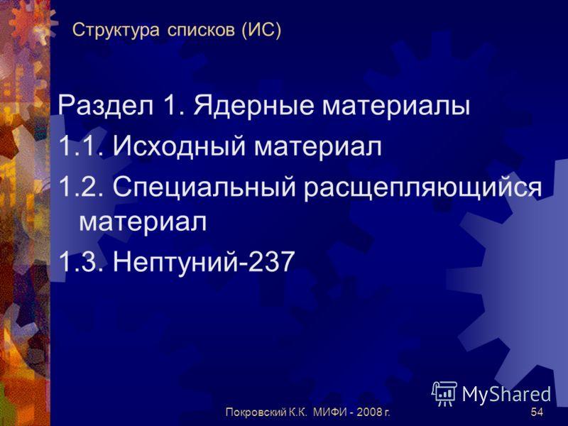 Покровский К.К. МИФИ - 2008 г.54 Структура списков (ИС) Раздел 1. Ядерные материалы 1.1. Исходный материал 1.2. Специальный расщепляющийся материал 1.3. Нептуний-237