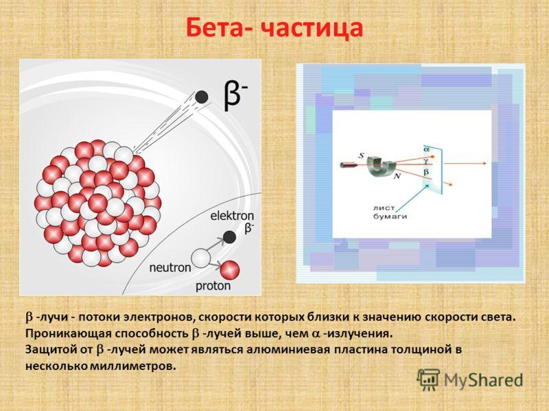 Альфа-частицы - лучи - это потоки -частиц, представляющих собой ядра атомов гелия. Они заряжены положительно. -лучи отличаются малой проникающей способностью. Они не могут пробить лист бумаги толщиной 0,1 мм.
