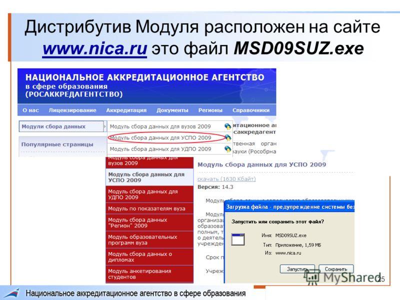 25 Дистрибутив Модуля расположен на сайте www.nica.ru это файл MSD09SUZ.exe