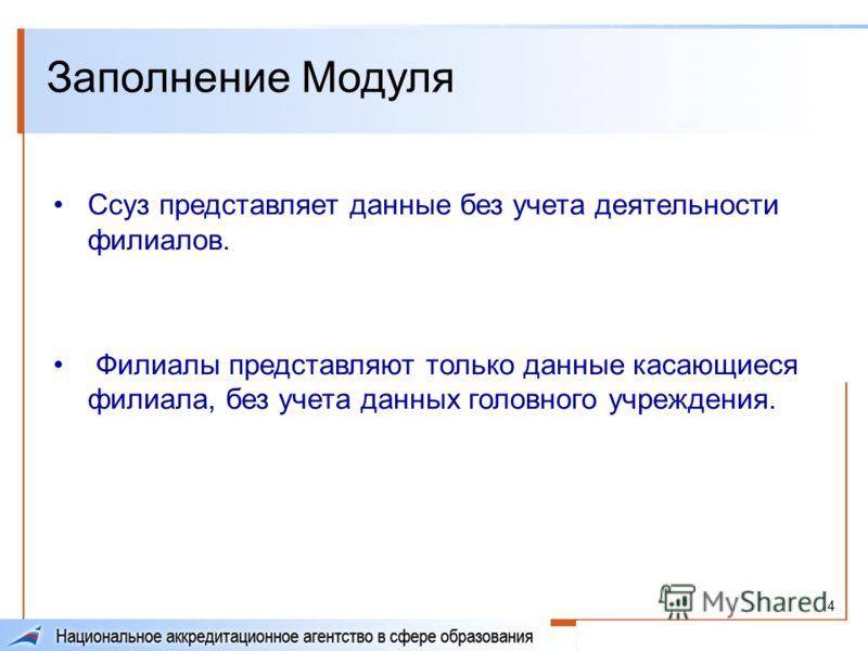 4 Заполнение Модуля Ссуз представляет данные без учета деятельности филиалов. Филиалы представляют только данные касающиеся филиала, без учета данных головного учреждения.