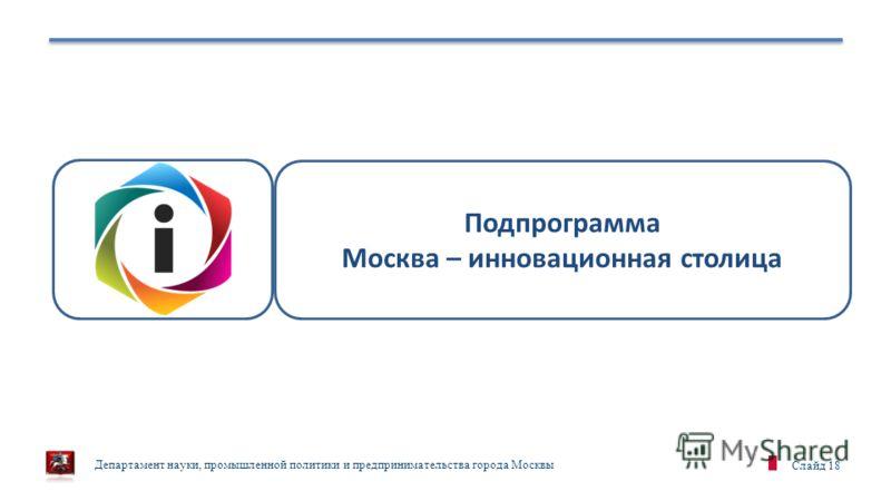 Департамент науки, промышленной политики и предпринимательства города Москвы Слайд 18 Подпрограмма Москва – инновационная столица