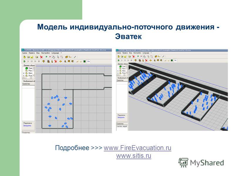 Модель индивидуально-поточного движения - Эватек Подробнее >>> www.FireEvacuation.ruwww.FireEvacuation.ru www.sitis.ru