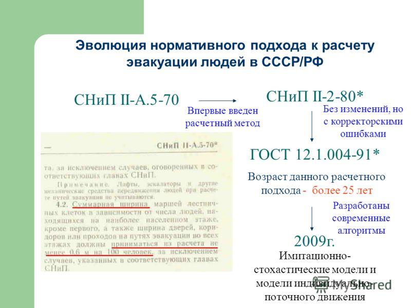 Без изменений, но с корректорскими ошибками СНиП II-А.5-70 СНиП II-2-80* ГОСТ 12.1.004-91* Возраст данного расчетного подхода - более 25 лет Впервые введен расчетный метод 2009г. Имитационно- стохастические модели и модели индивидуально- поточного дв