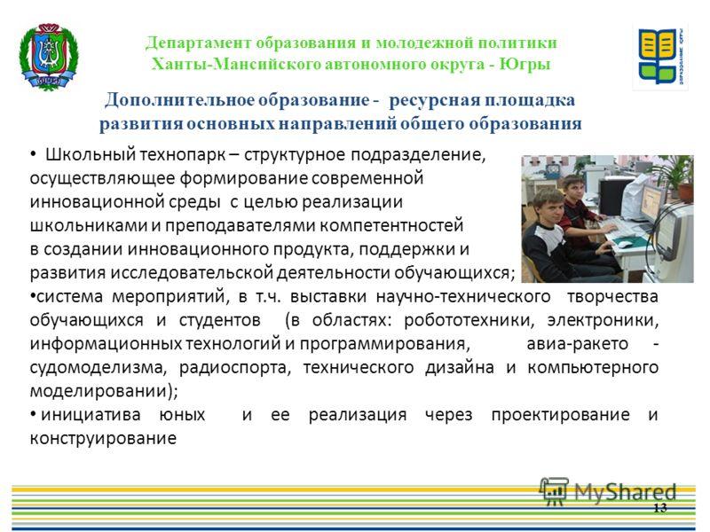 Департамент образования и молодежной политики Ханты-Мансийского автономного округа - Югры Школьный технопарк – структурное подразделение, осуществляющее формирование современной инновационной среды с целью реализации школьниками и преподавателями ком