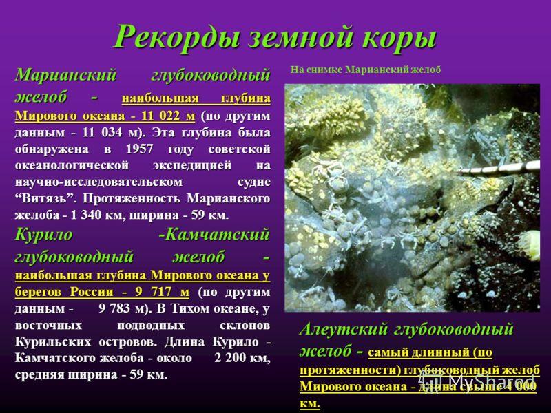 Рекорды земной коры Марианский глубоководный желоб - наибольшая глубина Мирового океана - 11 022 м (по другим данным - 11 034 м). Эта глубина была обнаружена в 1957 году советской океанологической экспедицией на научно-исследовательском судне Витязь.