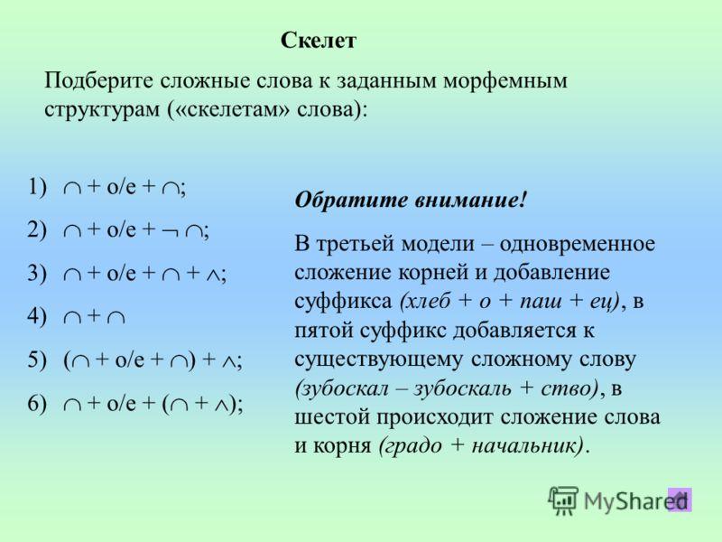 Скелет Подберите сложные слова к заданным морфемным структурам («скелетам» слова): 1) + о/е + ; 2) + о/е + ; 3) + о/е + + ; 4) + 5)( + о/е + ) + ; 6) + о/е + ( + ); Обратите внимание! В третьей модели – одновременное сложение корней и добавление суфф