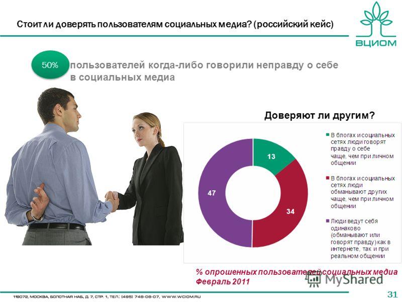 31 Стоит ли доверять пользователям социальных медиа? (российский кейс) 50% пользователей когда-либо говорили неправду о себе в социальных медиа Доверяют ли другим? % опрошенных пользователей социальных медиа Февраль 2011