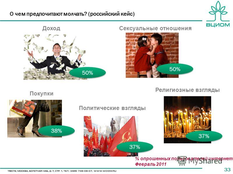 33 О чем предпочитают молчать? (российский кейс) 50% 38% 37% 50% ДоходСексуальные отношения Покупки Политические взгляды Религиозные взгляды % опрошенных пользователей интернета Февраль 2011