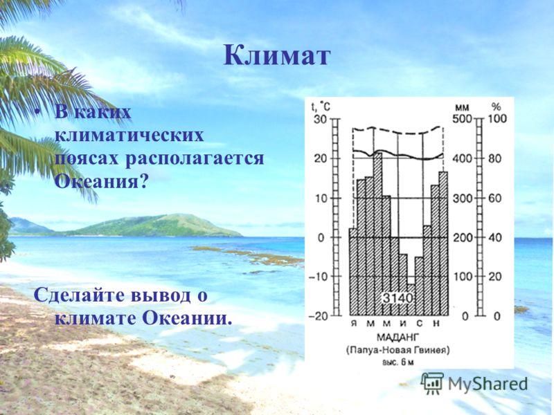 Климат В каких климатических поясах располагается Океания? Сделайте вывод о климате Океании.