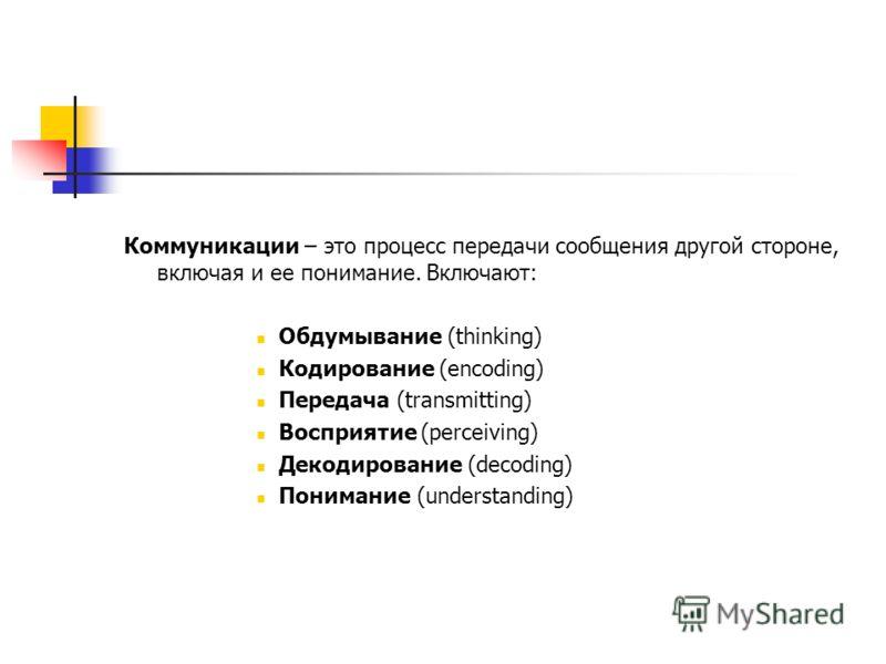 Коммуникации – это процесс передачи сообщения другой стороне, включая и ее понимание. Включают: Обдумывание (thinking) Кодирование (encoding) Передача (transmitting) Восприятие (perceiving) Декодирование (decoding) Понимание (understanding)