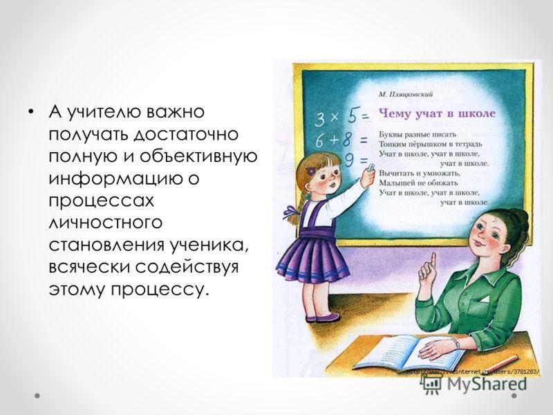 А учителю важно получать достаточно полную и объективную информацию о процессах личностного становления ученика, всячески содействуя этому процессу.