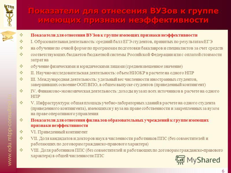 www.edu.mtpp-consulting.ru 6 Показатели для отнесения ВУЗов к группе имеющих признаки неэффективности I. Образовательная деятельность: средний балл ЕГЭ студентов, принятых по результатам ЕГЭ на обучение по очной форме по программам подготовки бакалав