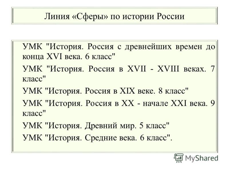 Линия «Сферы» по истории России УМК