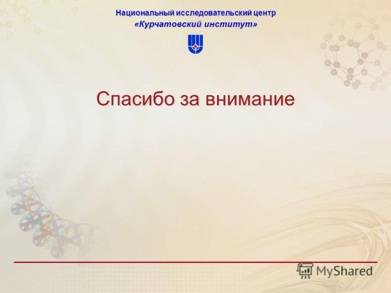 Национальный исследовательский центр «Курчатовский институт» Спасибо за внимание