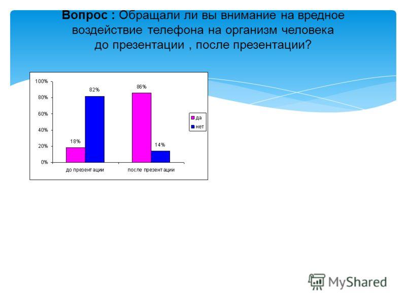 Вопрос : Обращали ли вы внимание на вредное воздействие телефона на организм человека до презентации, после презентации?