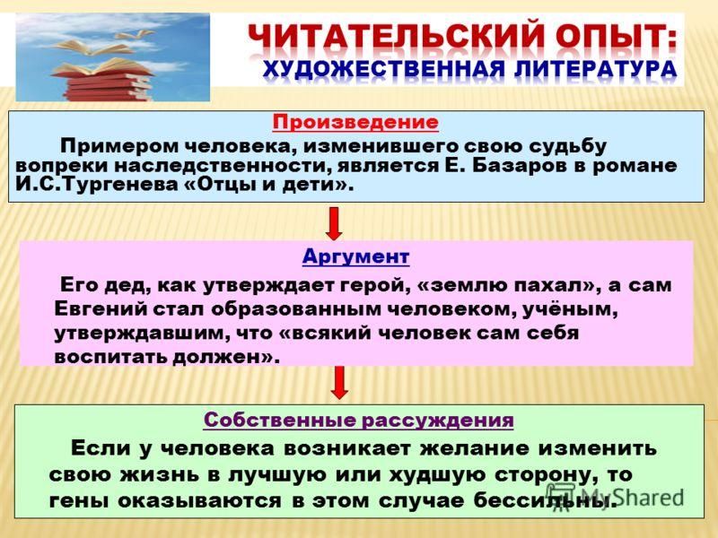 Произведение Примером человека, изменившего свою судьбу вопреки наследственности, является Е. Базаров в романе И.С.Тургенева «Отцы и дети». Аргумент Его дед, как утверждает герой, «землю пахал», а сам Евгений стал образованным человеком, учёным, утве